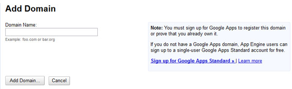 Sign up for Google Apps Standard