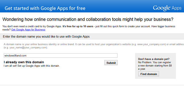 Google Apps Standard for free