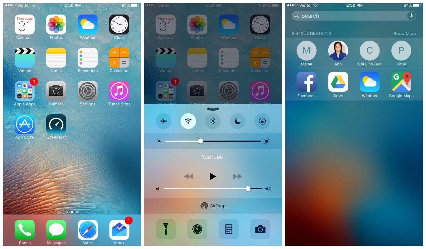 iOS 9 screens