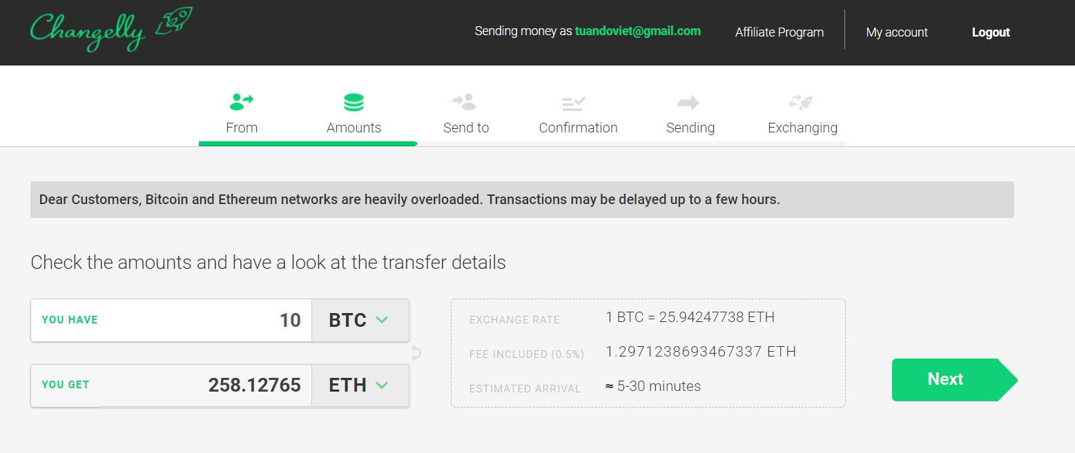 ... of Eth you will receive; The last step is to send Bitcoin to the wallet  address on Changelly. The whole process is pretty simple and even beginners  can ...