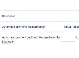 Google Adsense: Automatic payment declined by Western Union. No reason provided by your financial institution