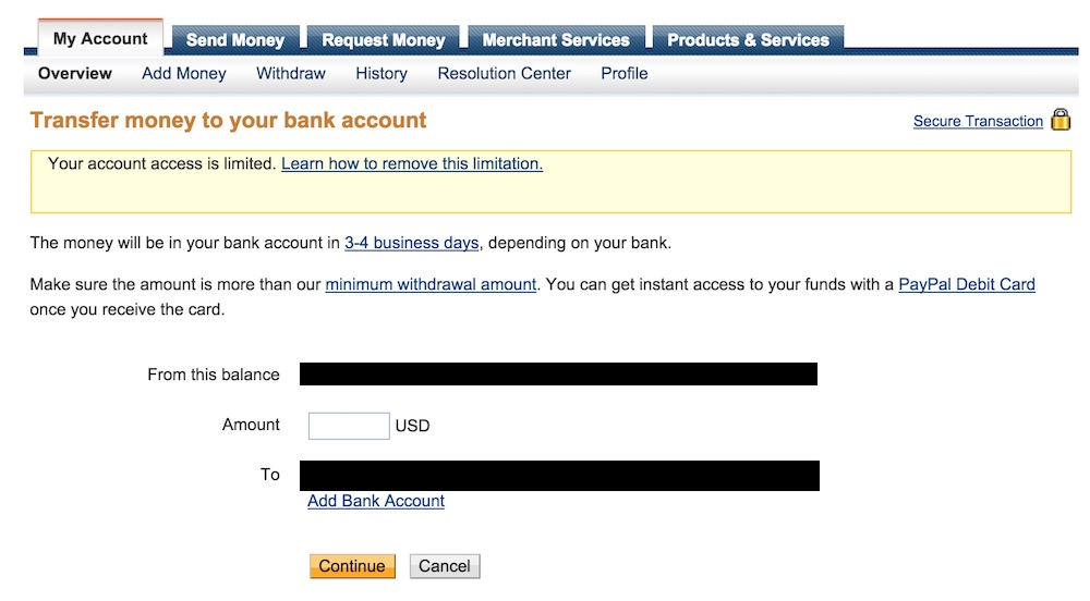 How to Withdraw Money from Limited Paypal Account - TechWalls