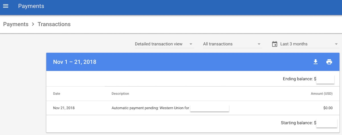 Google Adsense - Automatic Payment Pending: Western Union for $x,xxx